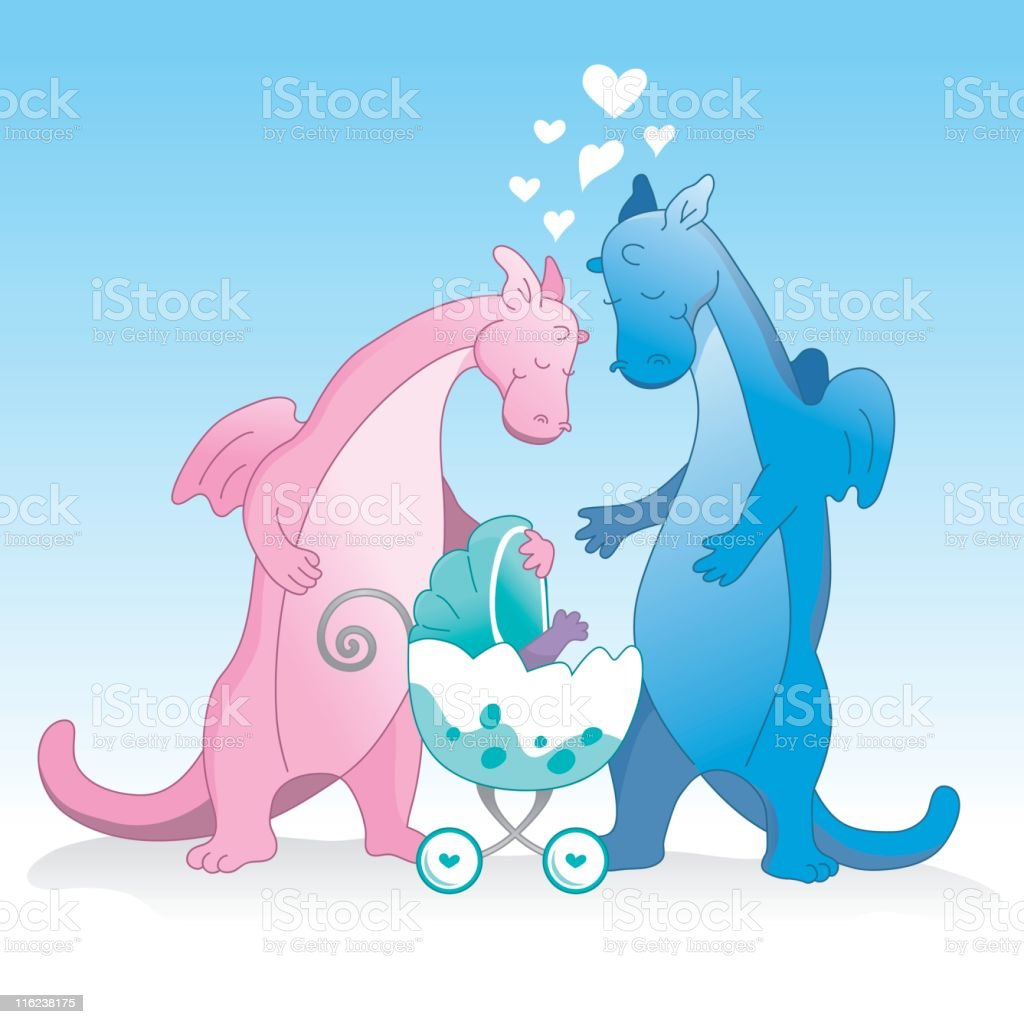 cute dragon couple and new baby stock vector art 116238175 istock