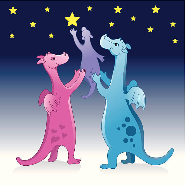 Cute dragon family reaching stars vector art illustration