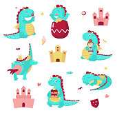 Cute dragon icon set, vector illustration isolated on white background. Fairytale medieval cartoon character. Funny mythical creature holding cake and little princess, eating lollipop, sleeping etc.