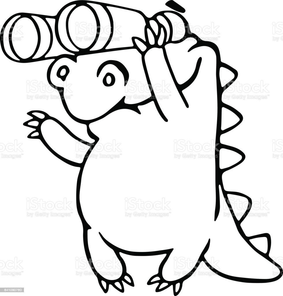 cute dragon looking through binoculars vector illustration stock