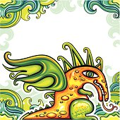 Cute dragon on  floral pattern