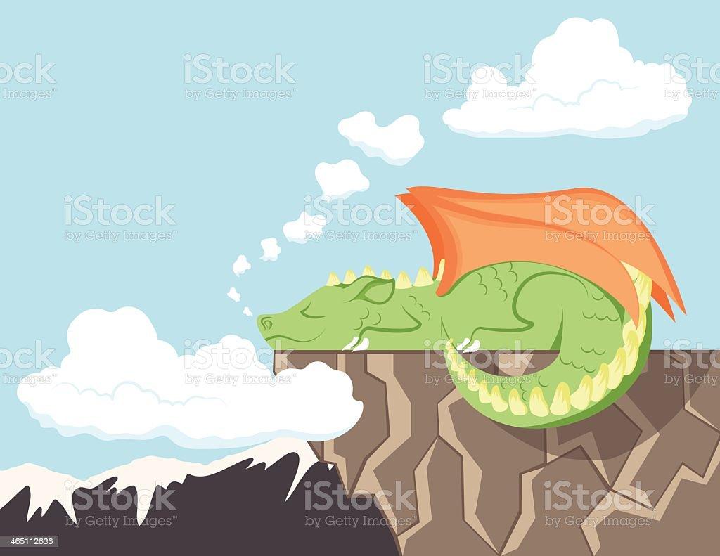 Cute Dragon Sleeping on a Cliff vector art illustration
