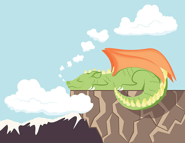 Cute Dragon Sleeping on a Cliff vector art illustration