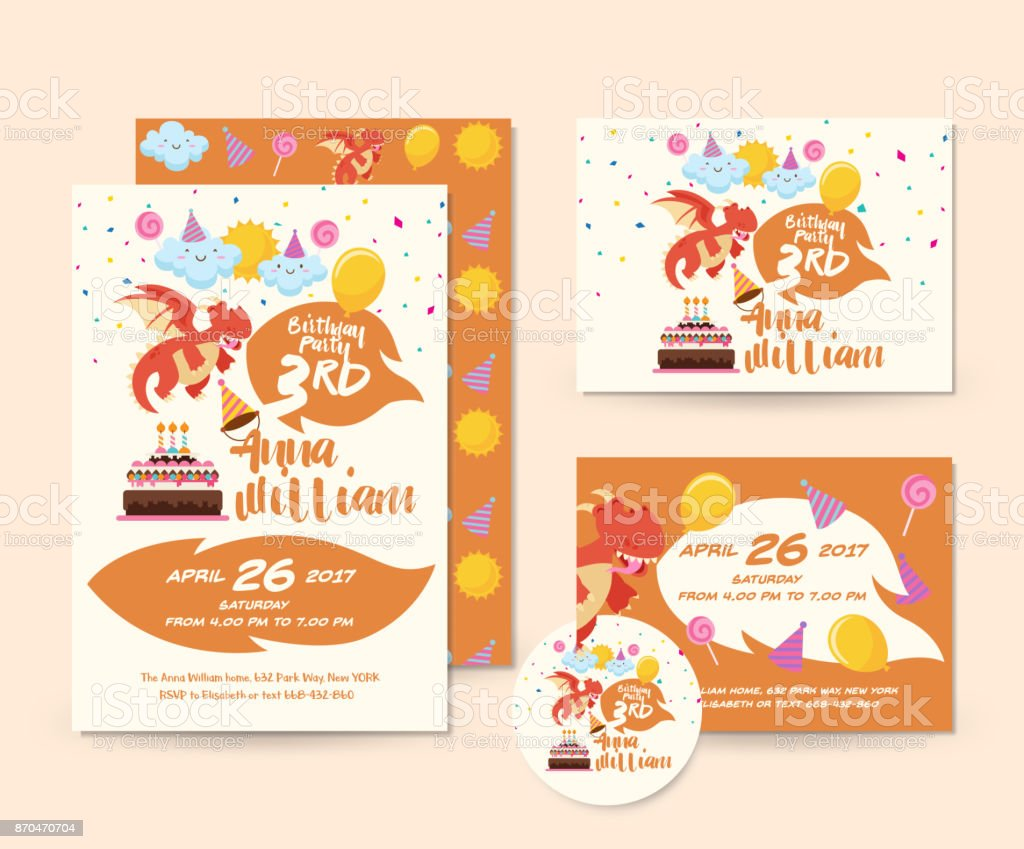 Charmant Cute Dragon Theme Happy Birthday Invitation Card Set And Flyer Illustration  Template Royalty Free Cute