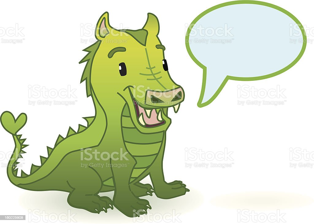 cute dragon (with Speechballoon). royalty-free cute dragon stock vector art & more images of animal