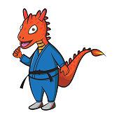 cute dragon cartoon wearing black belt karate costumeand giving thumb