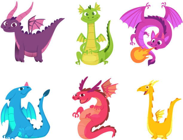 Cute dragons. Fairytale amphibians and reptiles with wings and teeth medieval fantasy wild creatures vector characters Cute dragons. Fairytale amphibians and reptiles with wings and teeth medieval fantasy wild creatures vector characters. Illustration of fantasy animal character, reptile mythology dragon stock illustrations