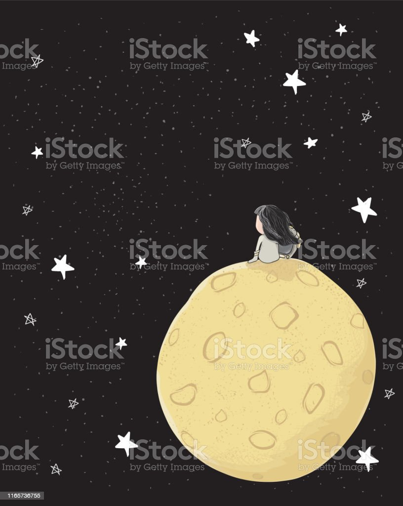cute drawing astronaut girl sitting alone on big moon in galaxy space...