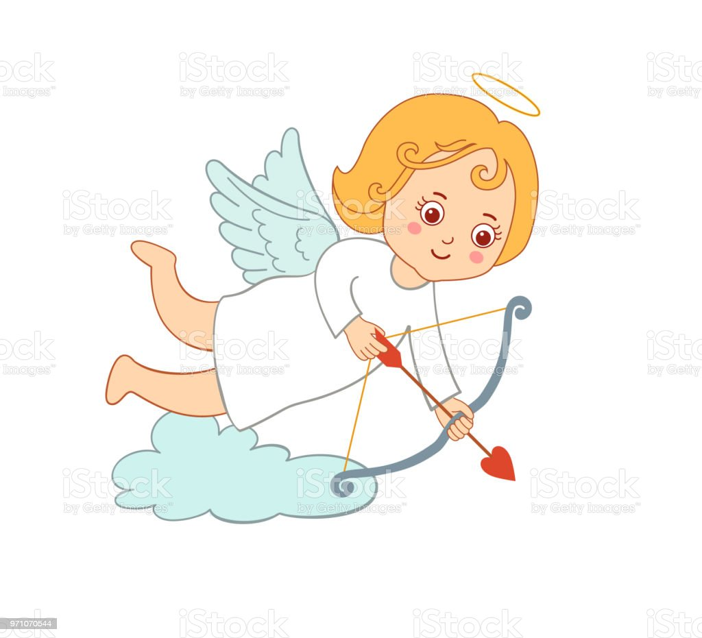Cute Drawing Cartoon Cupid For Valentines Day Stock Vector Art