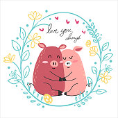cute drawing couple pink pig lover hug together