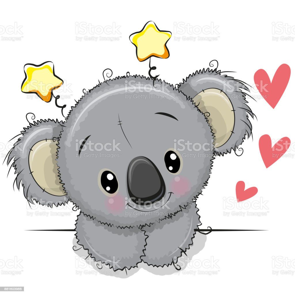 Cute Drawing Koala on a white background vector art illustration