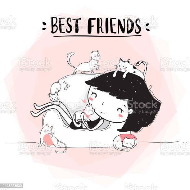Cute drawing out line happy girl hug cats on sofa best friends family vector id1158223630?b=1&k=6&m=1158223630&s=612x612&h=pasg4a3s9qdap4bf6sarxriidimf xe c9dp5t0 idw=