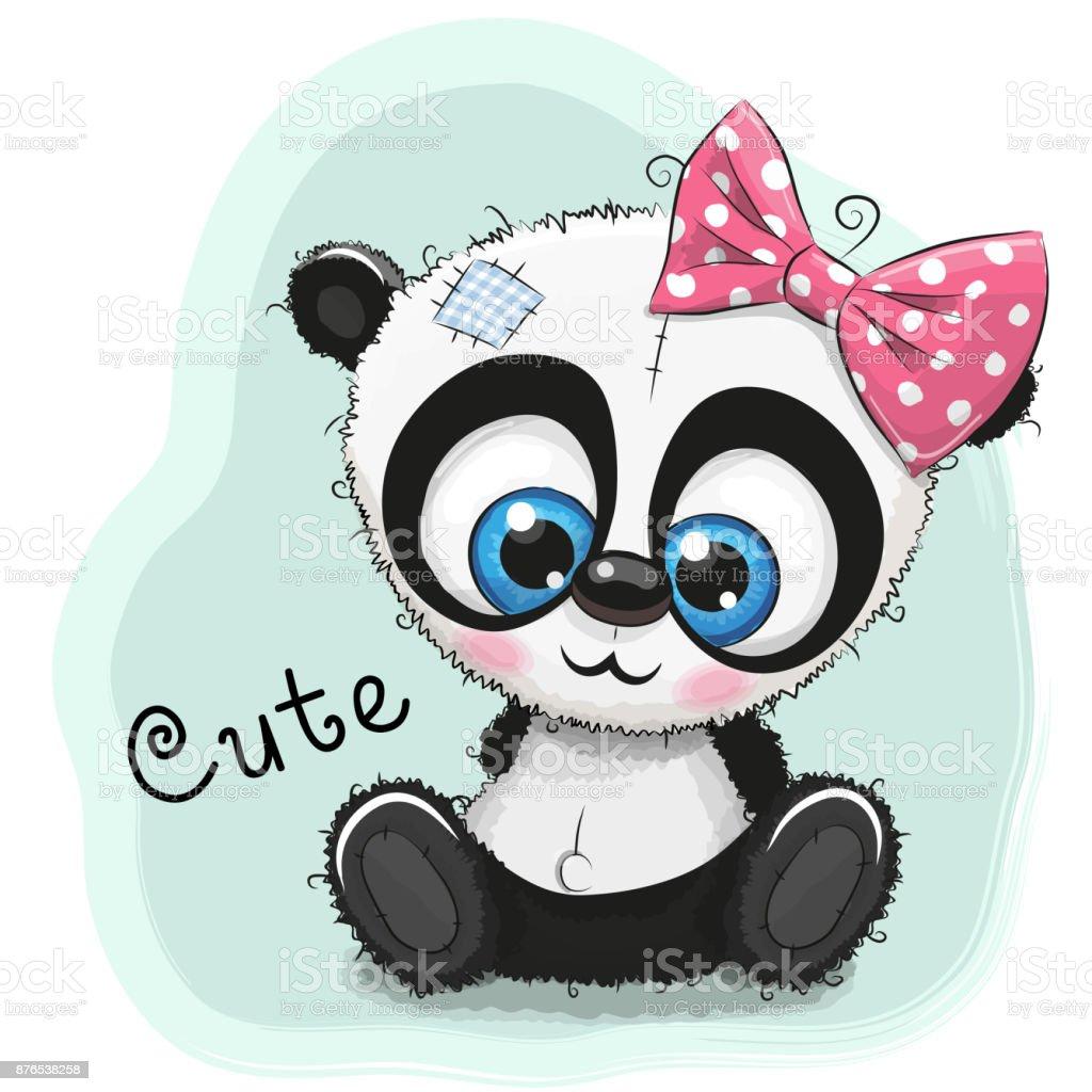 Jolie Fille Dessin Panda Sur Fond Bleu Vecteurs Libres De
