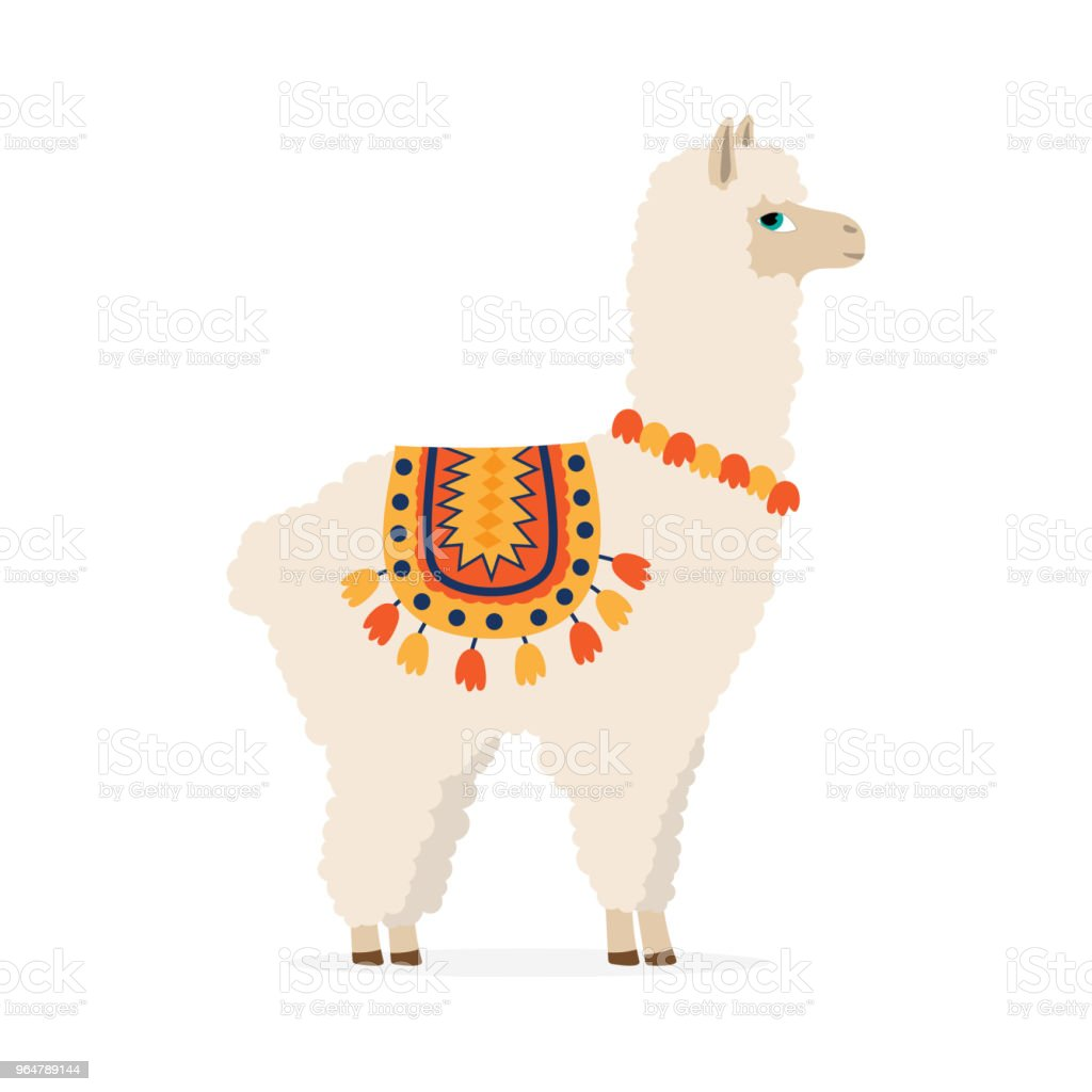 cute drawn llama or alpaca vector art illustration