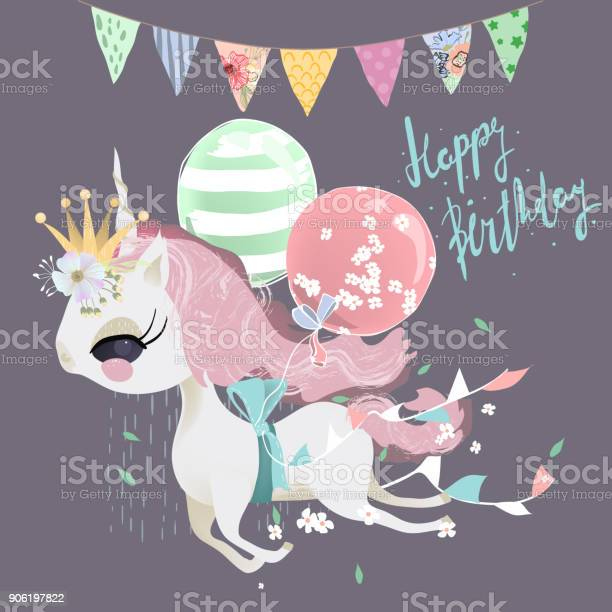 Cute dreaming flying baby unicorn girl with ballons flowers and tied vector id906197822?b=1&k=6&m=906197822&s=612x612&h=qbdhxvfgbrl1pvj374kp unjtxyjqydcg2xksggpx 0=