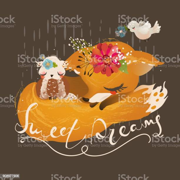 Cute dreaming fox baby animal with floral flowers wreath vector id908977906?b=1&k=6&m=908977906&s=612x612&h=1crdbywv2b0oicdg6slfmpszau8qggtlgnq0oilrwnm=