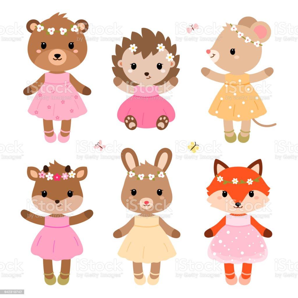 かわいい服を着て森の動物モダンなフラット スタイルベクトル