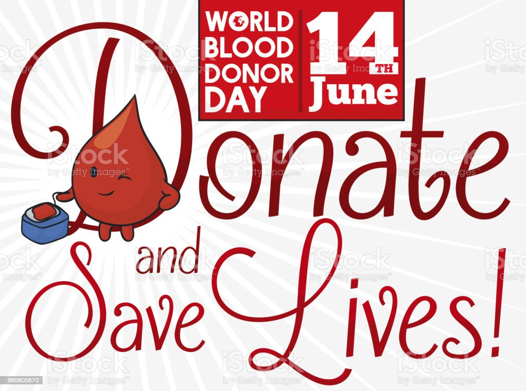 Cute Drop Donating Blood in the World Donor Day - Royalty-free Alertness stock vector