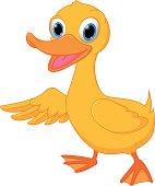Cute duck cartoon presenting