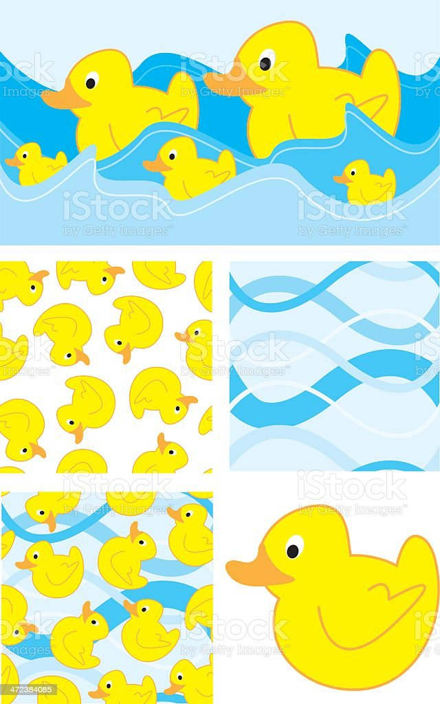 Cute Duck Seamless Vector Patterns. royalty-free stock vector art