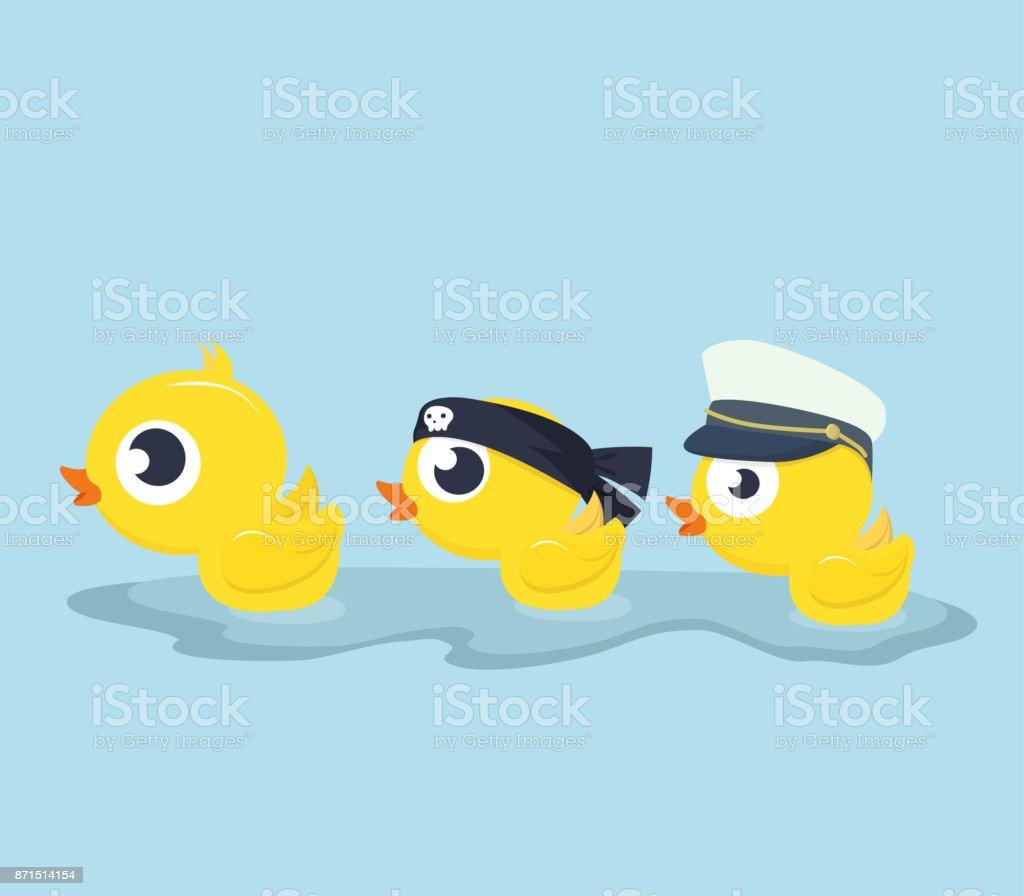 Cute Ducks swim vector art illustration