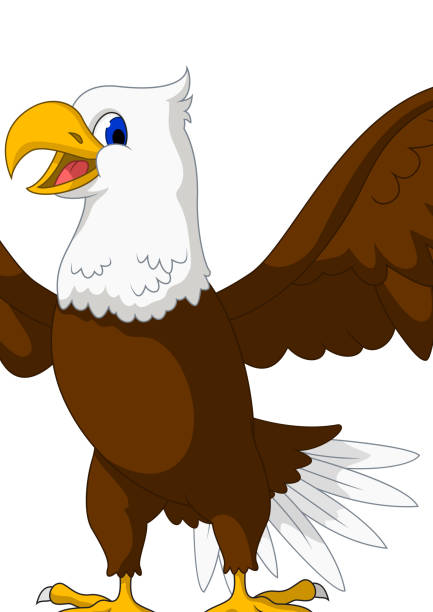 cute eagle cartoon posing - eagle character stock illustrations, clip art, cartoons, & icons