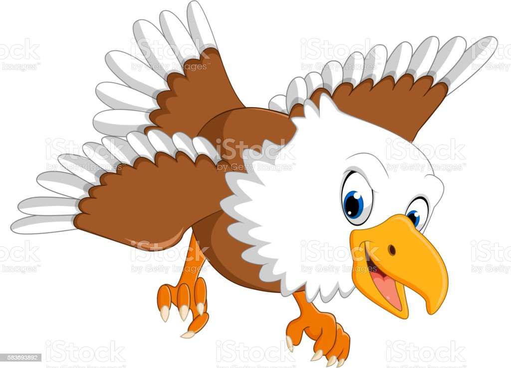 Cute Eagle Cartoon Stock Illustration - Download Image Now ...