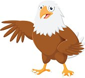 Vector Illustration of Cute eagle cartoon with pose