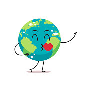 cute earth character blows kiss cartoon mascot globe personage with heart showing facial emotion save planet concept isolated vector illustration
