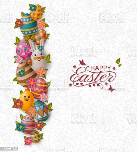 Cute easter background with white bunny chicken eggs and flowers vector id1135987322?b=1&k=6&m=1135987322&s=612x612&h=qbtyhol6p1x3qwci6f9i7dibrhqdlecnr0rcunpm3z0=
