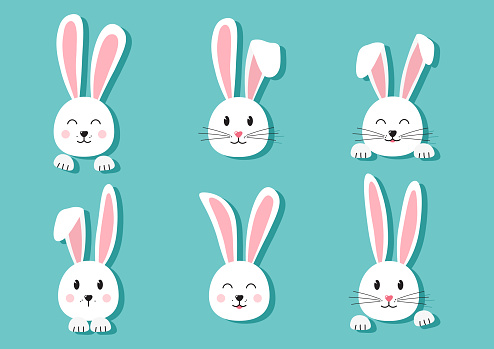 Cute Easter bunnies hand drawn, face of rabbits with shadow on turquoise background. Elements for design greeting cards. Vector