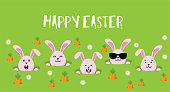 Cute Easter bunnies happy Easter sign- Vector illustration