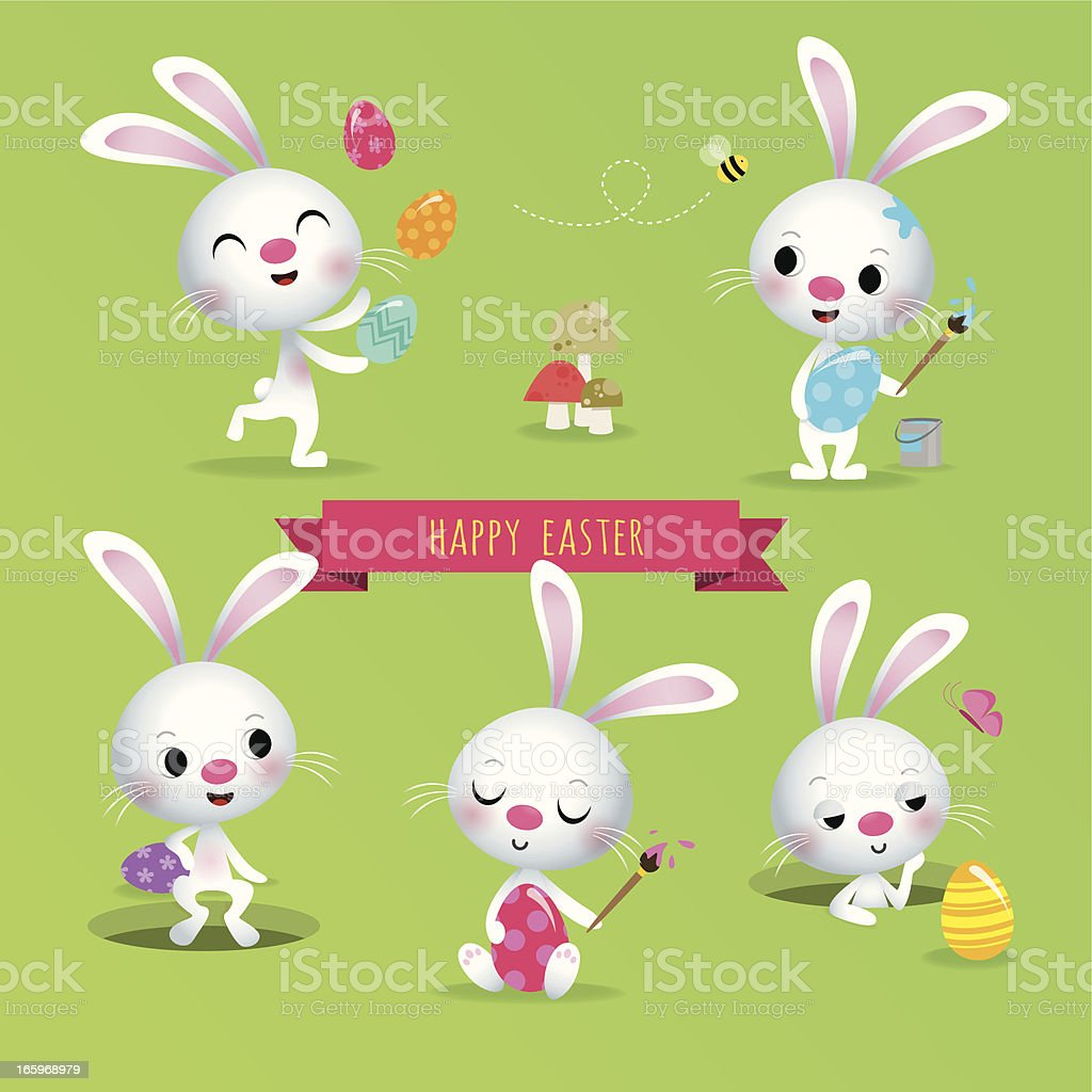 Cute Easter bunnies painting and playing with Easter eggs royalty-free stock vector art