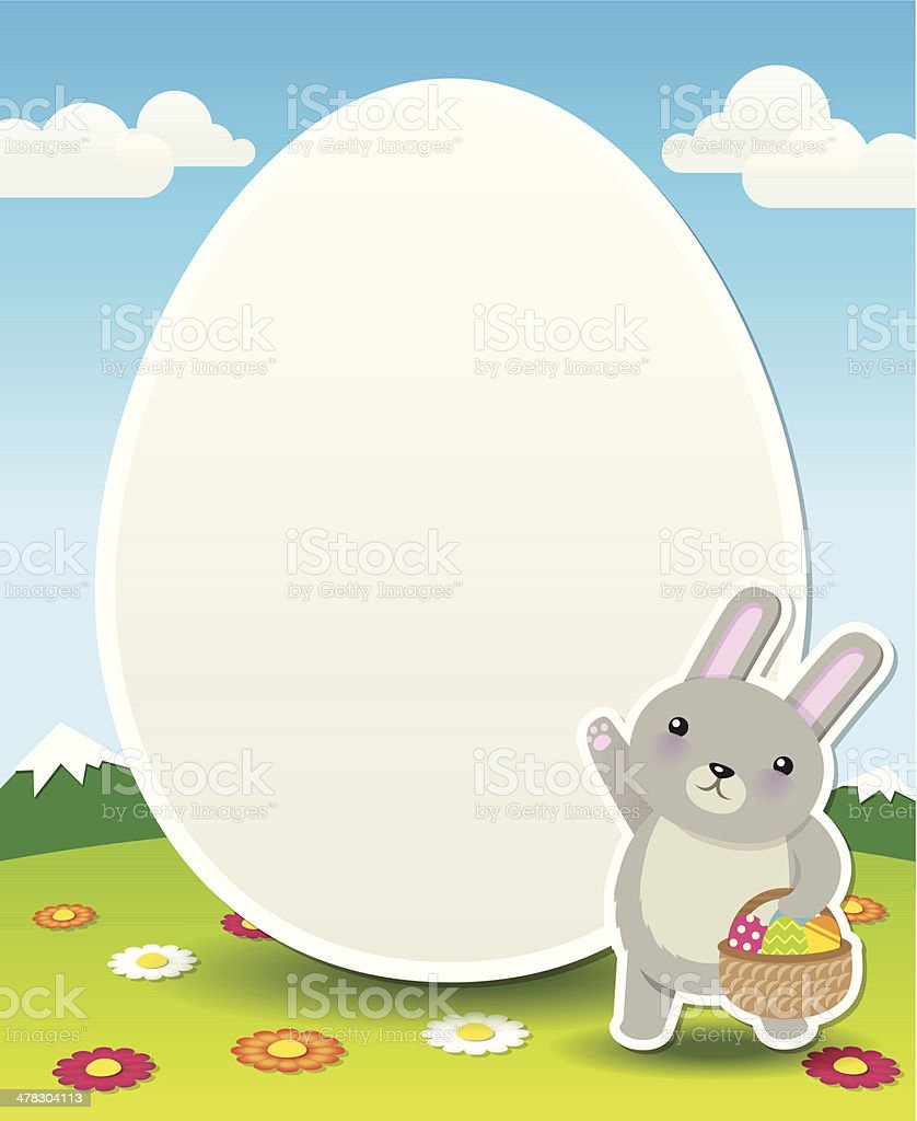 Cute Easter Bunny Egg Vector Cartoon Background Template royalty-free stock vector art