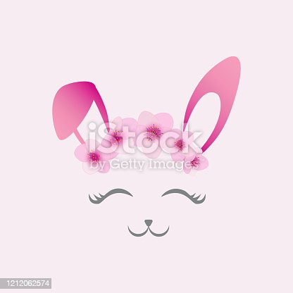 Cute Easter bunny face vector. Sweet smiling eyes