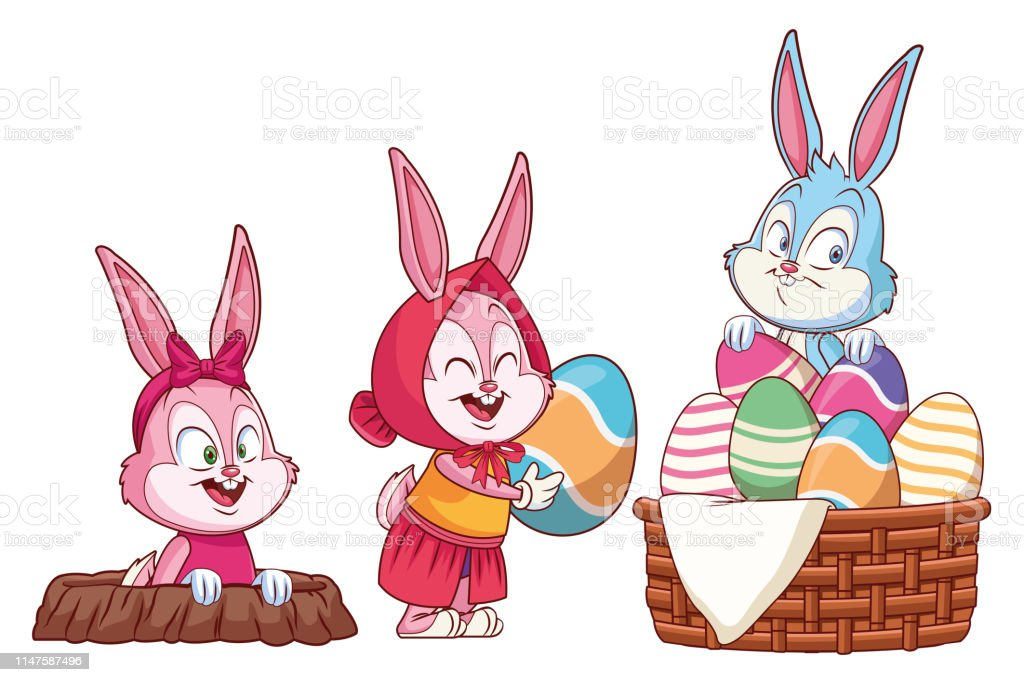 Cute easter bunny happy friends holding egg rabbit hole with egg...