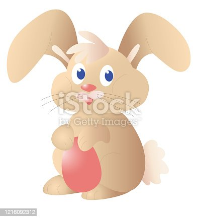 Cute Easter bunny with Easter egg. Vector illustration.