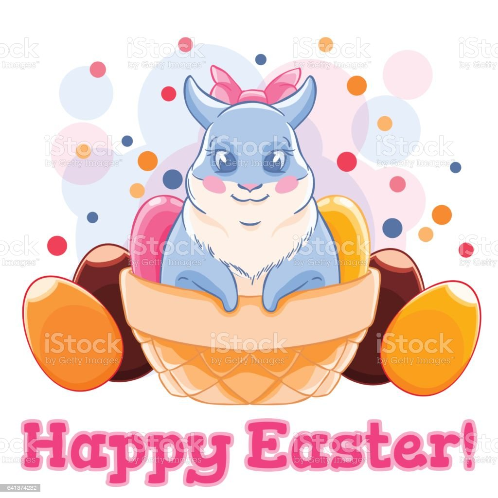 cute easter bunny in basket with sweets and chocolate eggs