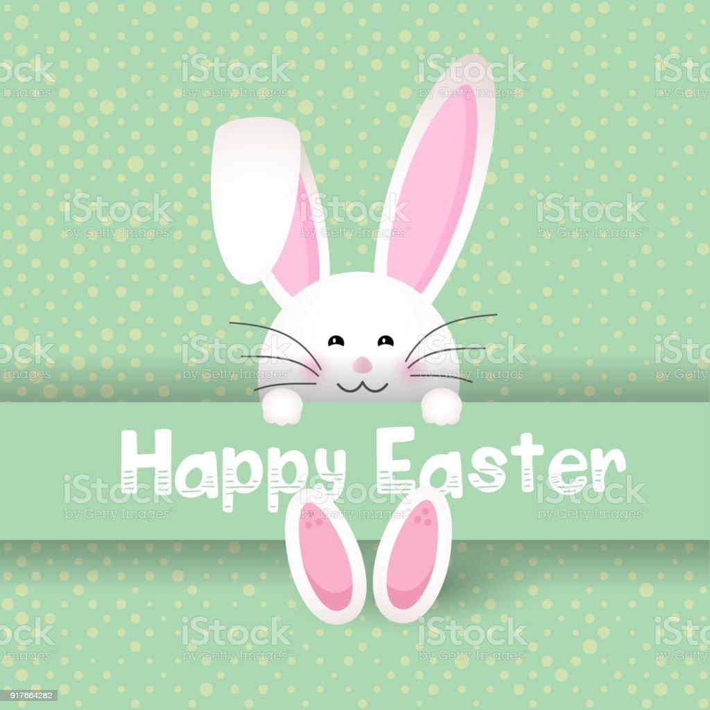 Cute Easter bunny on polka dot background vector art illustration