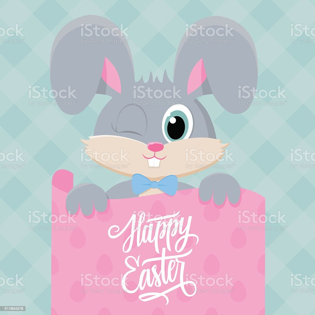 Cute Easter Bunny With Happy Easter Greetings Stock Vector Art