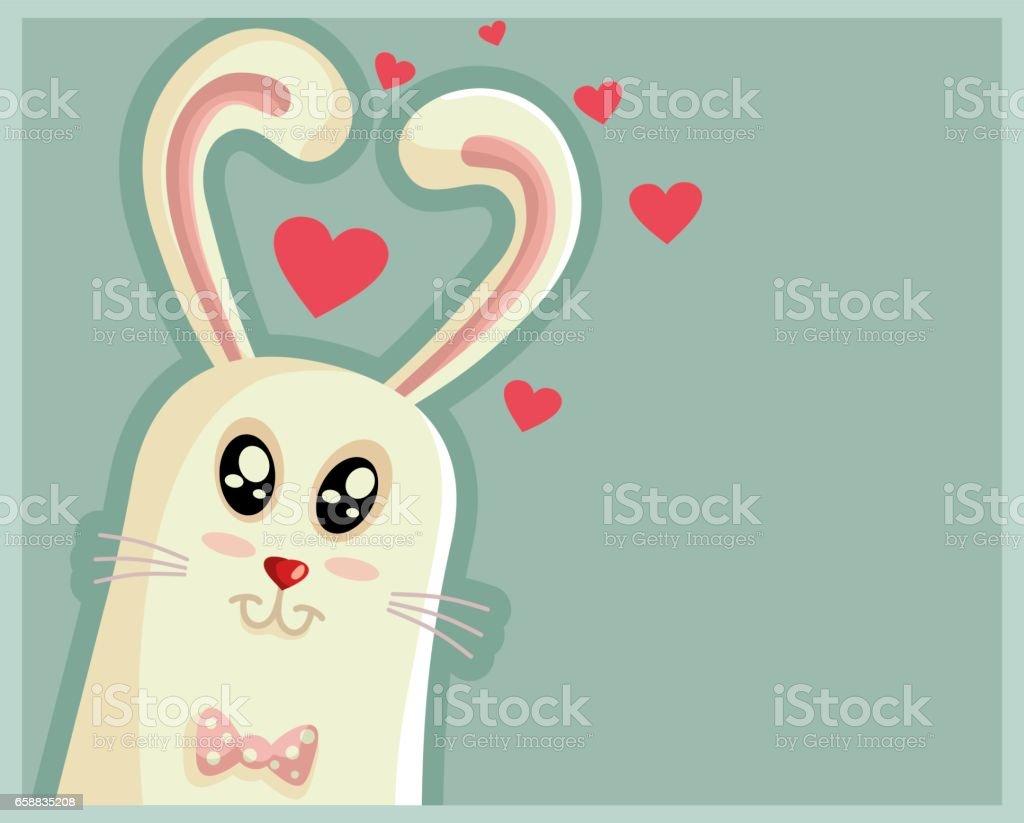 かわいいイースターのウサギの心の形の耳 お守りのベクターアート素材