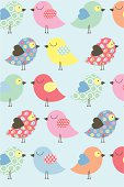 Cute Easter Chick Pattern with Blue Background