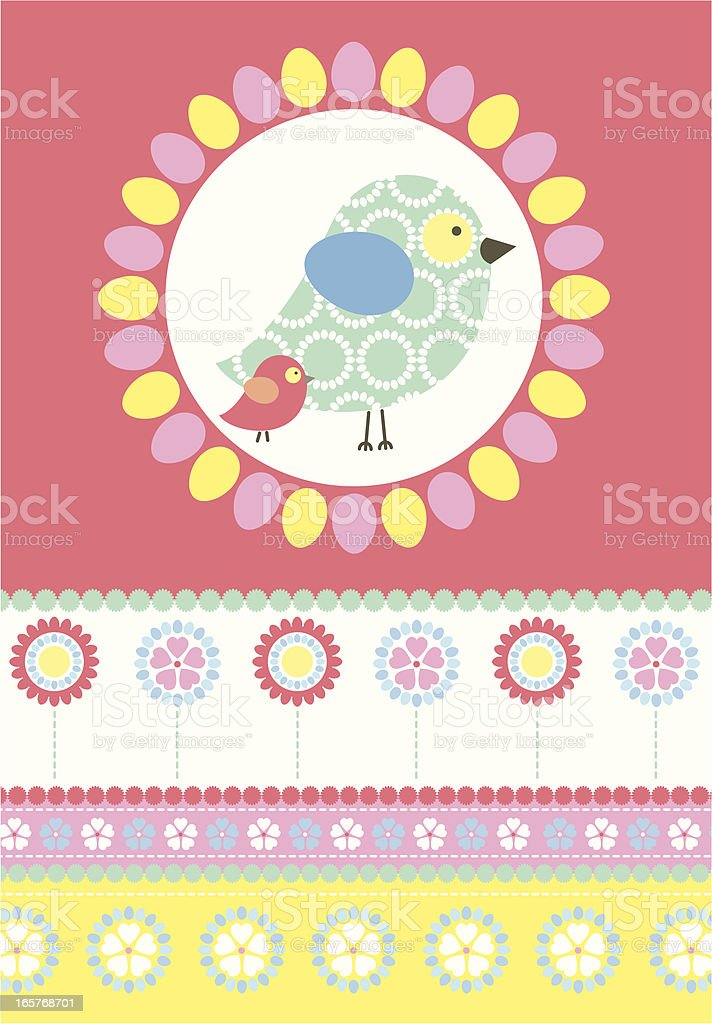 Cute Easter Chick Pattern with Flower Stripe royalty-free stock vector art