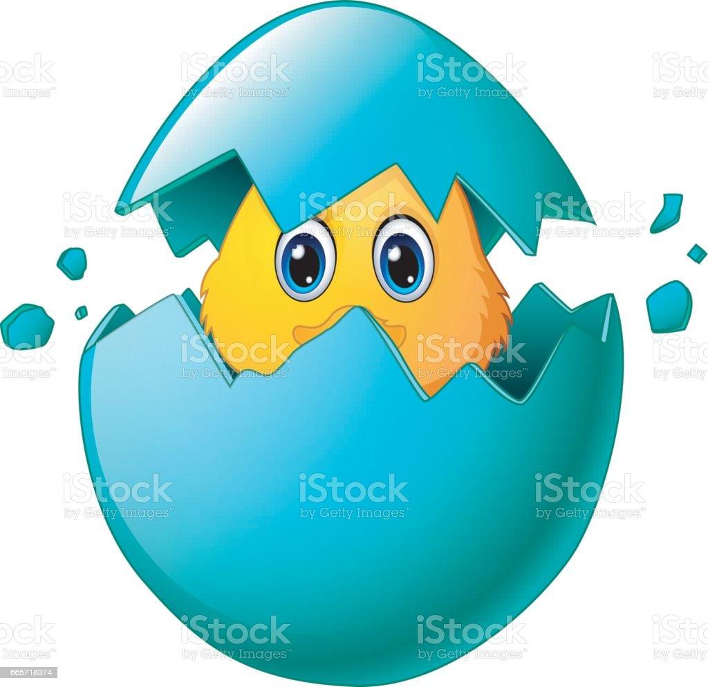 Cute easter chicks in egg shell vector art illustration