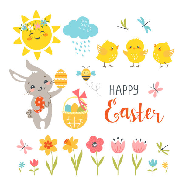 Cute Easter design elements Cute Easter bunny, chicks, spring flowers, butterflies, dragonflies, bee, sun, cloud and hand drawn text isolated on white background. chicken bird stock illustrations