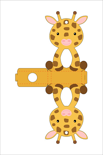 Cute easter egg holder giraffe template. Retail paper box for the easter egg. Printable color scheme. Laser cutting vector template. Isolated packaging design illustration.