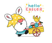 Cute easter Gnome bunny ears cartoon and yellow chick baby in pink truck car with Easter eggs. Happy Easter, Cute doodle cartoon vector spring Easter clip art