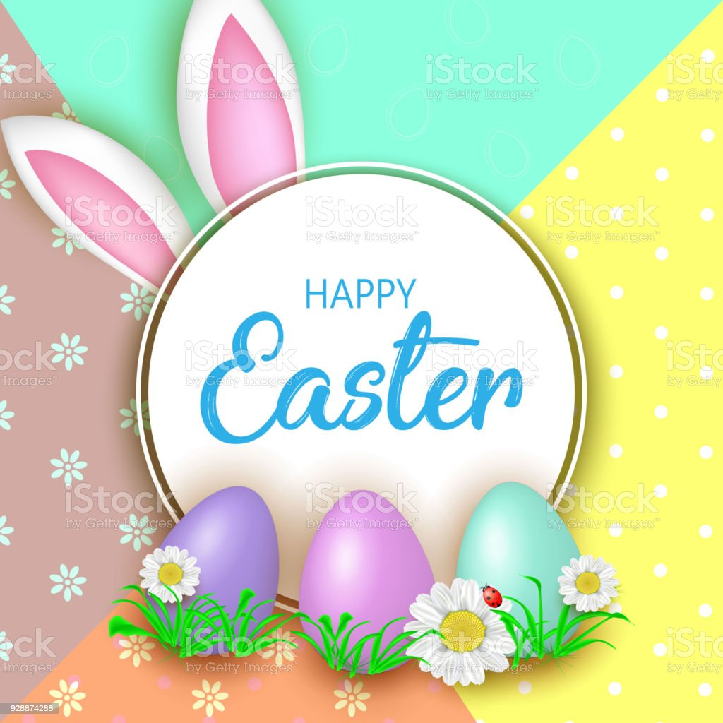Cute Easter Greeting Card With Flowers Easter Eggs And Rabbit E