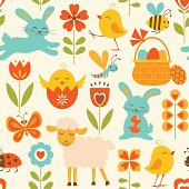 Cute seamless pattern with Easter symbols.
