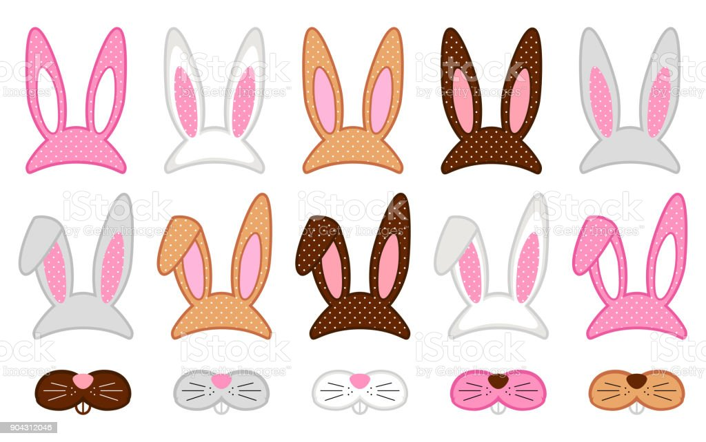 Cute Easter photo booth props as set of party graphic elements of easter bunny costume vector art illustration